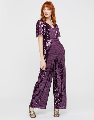 Monsoon Harriette Heart Sequin Jumpsuit Purple