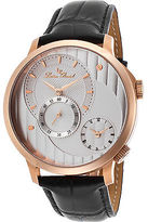 Lucien Piccard 10337-RG-02S Men's Messina Dual Time Black Genuine Leather