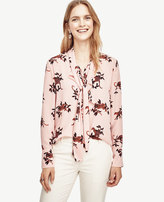 Ann Taylor Petite Jungle Cat Tie Neck Ruffle Blouse