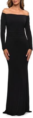 La Femme Off the Shoulder Long Sleeve Jersey Gown