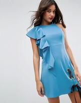 Asos Design Scuba Eyelet Tie Up Ruffle Mini Dress