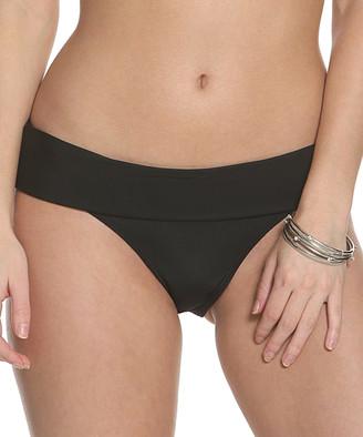 Sun And Sea Sun and Sea Women's Bikini Bottoms BLACK - Black Fold-Over Band Bikini Bottoms - Women