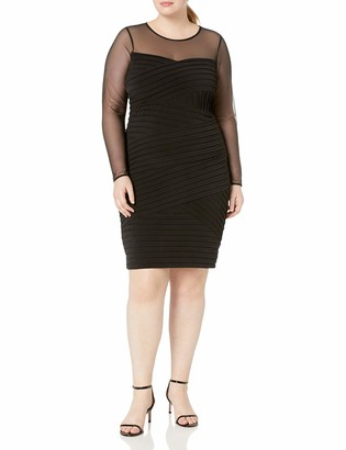 Calvin Klein Women's Size Long Sleeve Bandage Dress with Illusion Neckline
