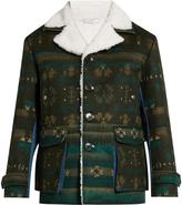 Valentino Geometric-intarsia faux-shearling jacket