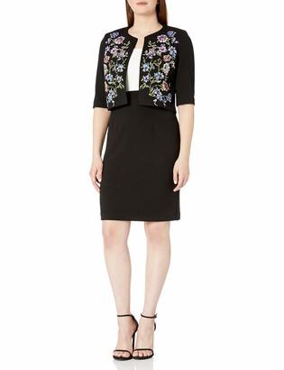 Sandra Darren Women's 2 PC 3/4 Sleeve Knit Textured Jacket with Sheath Dress