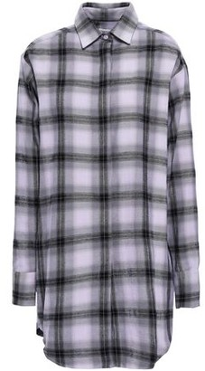 Each X Other Embroidered Printed Checked Cotton-flannel Shirt