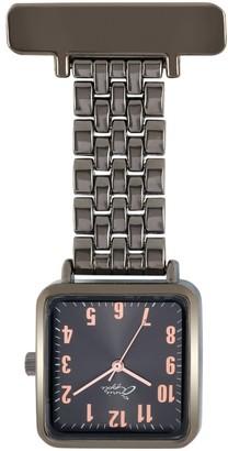 Bermuda Watch Company Annie Apple Square Gunmetal Grey & Rose Gold Link Bracelet Watch