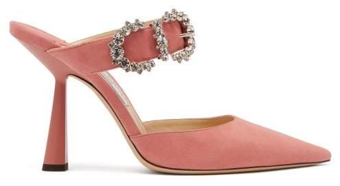 Jimmy Choo Smokey 100 Crystal Buckle Suede Mules - Womens - Pink