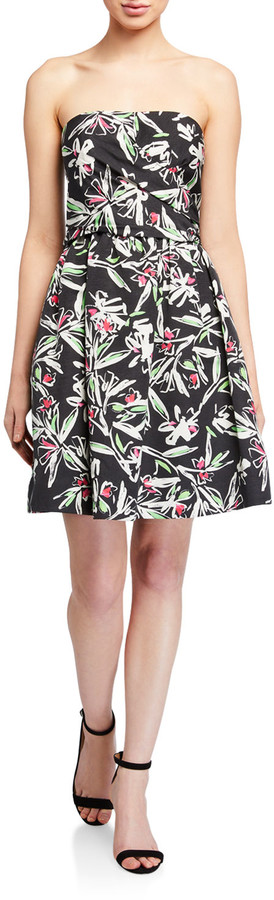 Milly Painted Floral Strapless Cross Wrap Faille Dress