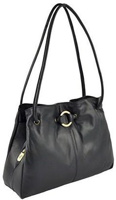 GiGi Ladies Soft Leather Shoulder Handbag Othello Collection Classic Stylish (Red)