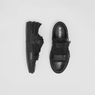 Burberry Cotton and Leather Webb Sneakers