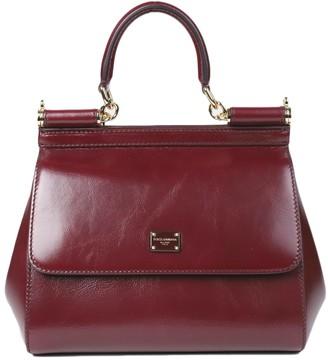 Dolce & Gabbana Burgundy Sicily Bag Small