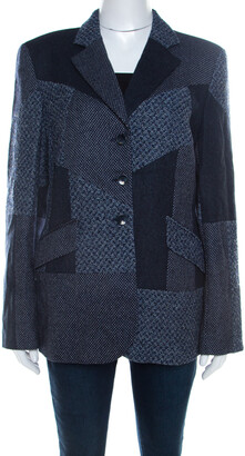Escada Navy Blue Wool Blend Patchwork Blazer XL
