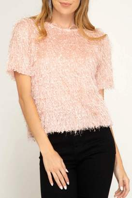 She + Sky Fuzzy Fringe Top