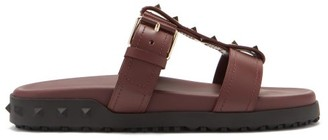 Valentino Rockstud-embellished Leather Sandals - Burgundy