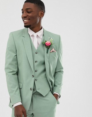 Asos DESIGN wedding slim suit jacket in sage green