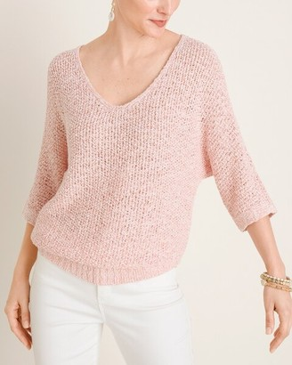 Chico's Tape Yarn V-Neck Pullover Sweater