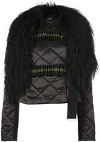 David Koma quilted jacket with removable fur collar