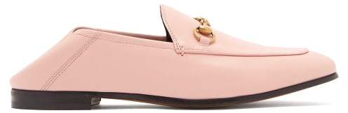 Gucci Brixton Collapsible Heel Leather Loafers - Womens - Light Pink