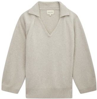 LOULOU STUDIO V-Neck Cashmere Sweater with Collar