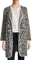 Joie Berit Leopard-Print Jacquard Open-Front Jacket