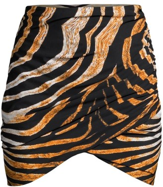 Chiara Boni Ebby Tiger-Print Ruched Skirt