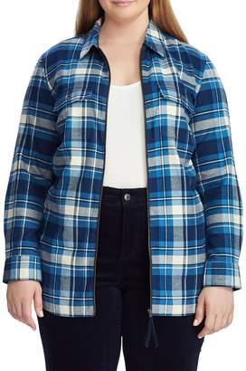 Chaps Plus Long-Sleeve Zip Plaid Shirt