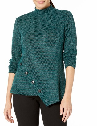 Amy Byer Women's Fuzzy Tweed Sweater