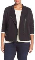 NYDJ Plus Size Women's Faux Leather & Ponte Knit Moto Jacket