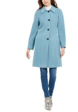 Anne Klein Petite Single-Breasted Club-Collar Coat, Created for Macy's