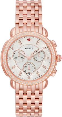 Michele 38mm Sidney Diamond Chronograph Watch, Rose Gold