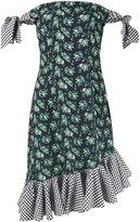 House of Holland floral print gingham off-shoulder dress - women - Cotton/Polyester - 10
