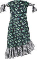 House of Holland floral print gingham off-shoulder dress - women - Polyester/Cotton - 6