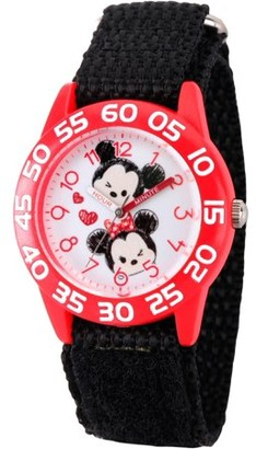 Disney Tsum Tsum, Mickey Mouse and Minnie Mouse Girls' Red Plastic Time Teacher Watch, Black Hook and Loop Nylon Strap