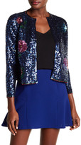 Cynthia Rowley Floral Sequin Front Cropped Cardigan