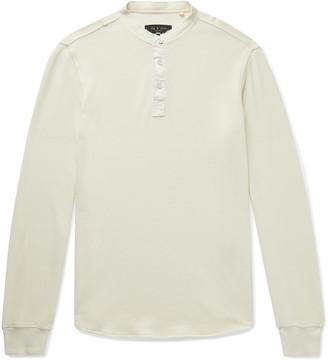 Rag & Bone Baron Honeycomb-Knit Cotton Henley T-Shirt