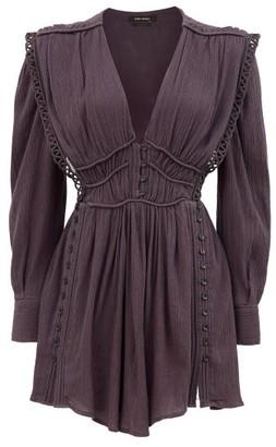 Isabel Marant Yaxo V-neck Cotton-voile Mini Dress - Black