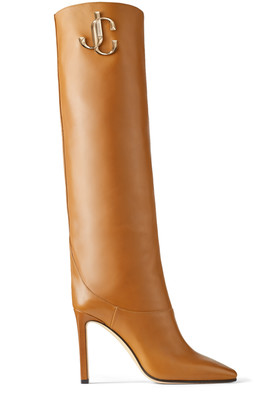 Jimmy Choo MAHESA 100 Cuoio Calf Leather Knee High Boots with JC Emblem
