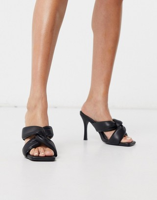 Public Desire Peachy mules in black padded