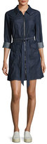 7 For All Mankind Zip-Front Belted Denim Dress, Indigo