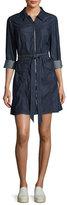 7 For All Mankind Zip-Front Belted Denim Dress, Indigo