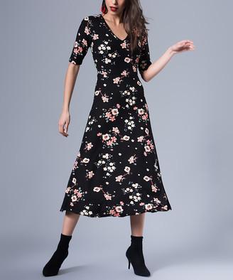 Milan Kiss Women's Casual Dresses BLACK-FLORAL - Black Floral V-Neck A-Line Dress - Women