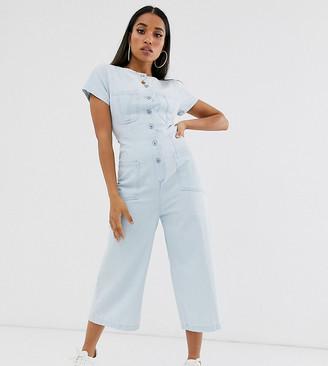 ASOS DESIGN Petite denim button through jumpsuit with open back in midwash blue
