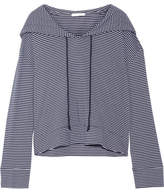 Skin Striped Pima Cotton And Modal-blend Hooded Top