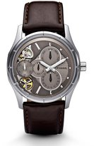 Fossil Men's ME1020 Brown Leather Strap Textured Champagne Cutaway Analog Dial Multifunction Chronograph Watch