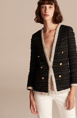 Rebecca Taylor Tailored Fringe Tweed Button Jacket