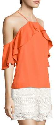 Trina Turk Olan 2 Ruffled Cold-Shoulder Top