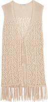 Autumn Cashmere Fringed Crochet-Knit Cotton Gilet