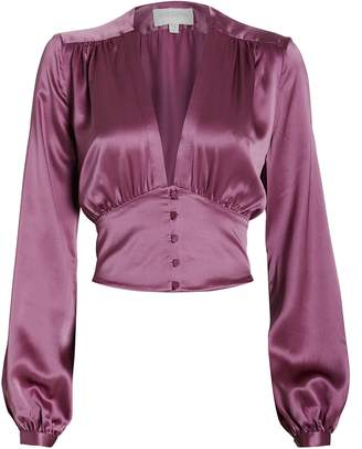 Divine Heritage Satin V-Neck Blouse