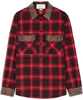 Gucci Embellished Plaid Cotton-flannel Shirt - Red